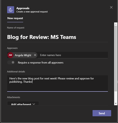 microsoft teams creating a new approval