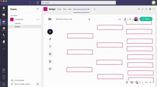 InVision whiteboard enhances brainstorming sessions microsoft teams