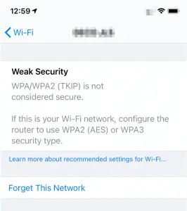 are you seeing a weak security alert on your phone?